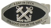 "BOATSWAIN'S MATE ""A DAY IN DECK"" BELT BUCKLE - SILVER FINISH"