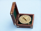 Solid Brass Admiral's Sundial Compass w/ Rosewood Box 4""
