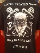 T-SHIRT, BOATSWAIN'S MATE SKULL AND ANCHORS