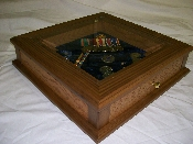 OAK AND GLASS MEDAL AND RIBBON BOX