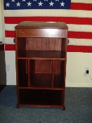 "PODIUM - THE ""OKINAWA"" - MAHOGANY W/ CUTOUTS FOR BINOS & RADIO"