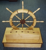 "FLAG STAND, SHIP'S WHEEL - THE ""NAUTILUS"" - WALNUT AND BIRCH"