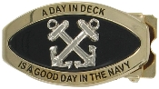 "BOATSWAIN'S MATE ""A DAY IN DECK"" BELT BUCKLE - BRASS FINISH"