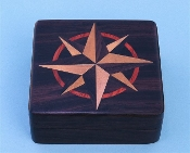 Small Rosewood Desk Compass w/ Hand Inlaid Hardwood Compass Rose