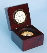 Quartz Desk Clock w/ Magnetic Compass & Solid Mahogany Case